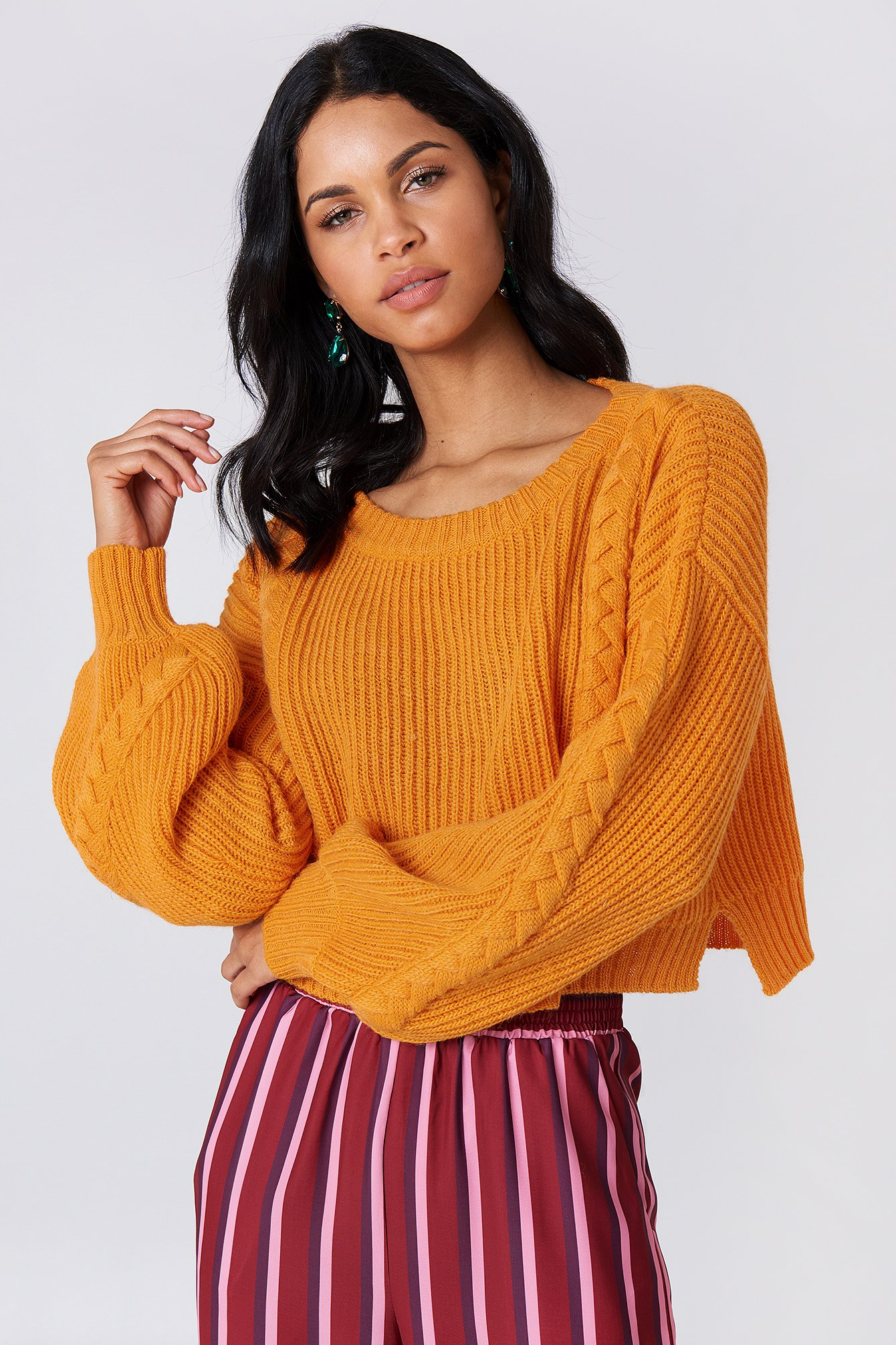 na-kd -  Short Cable Knitted Sweater - Orange