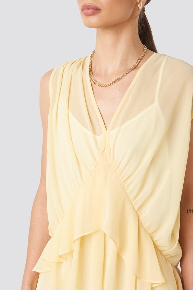 Short Chiffon Dress Light Yellow