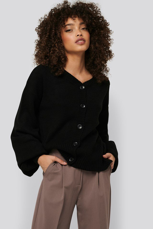 Short Chunky Knit Cardigan Black