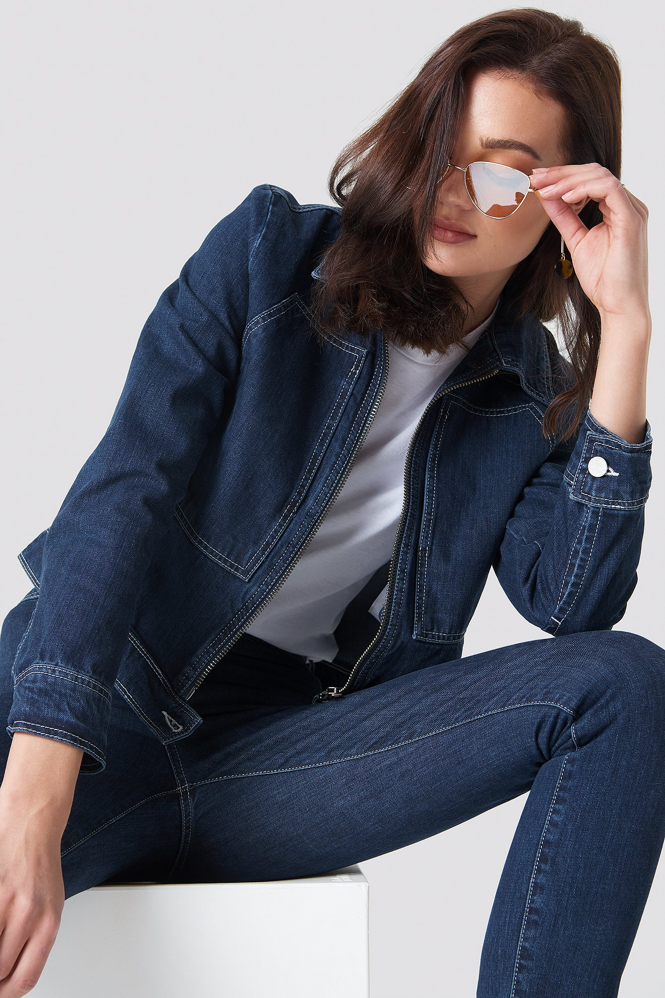 SHORT DENIM JACKET - BLUE