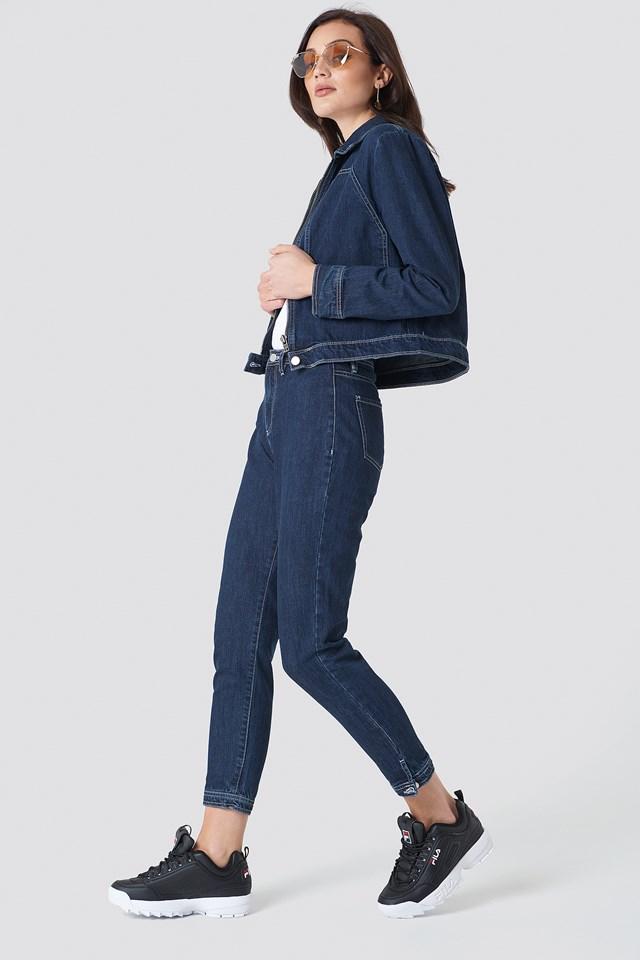 Short Denim Jacket Dark Blue