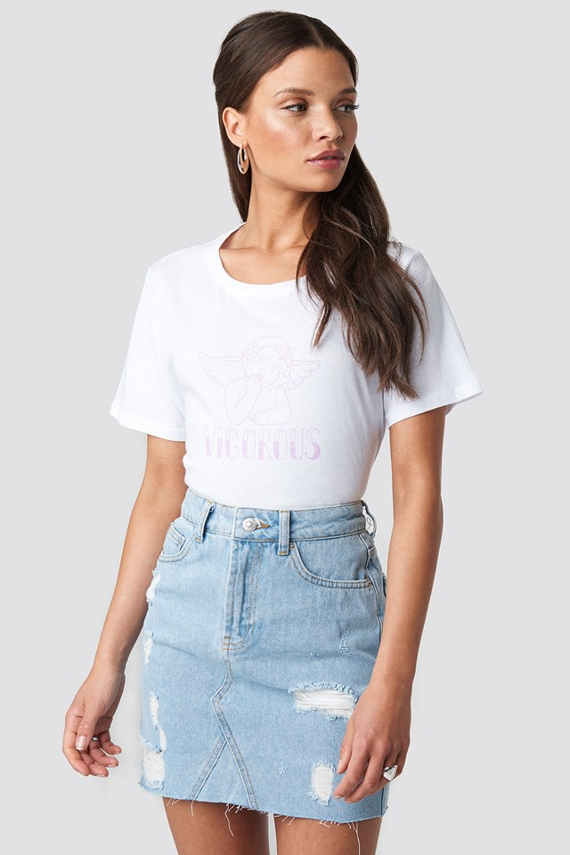 Short Destroyed Denim Skirt Light Blue