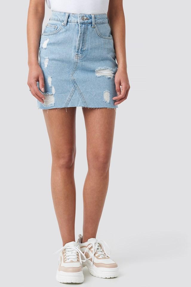 Short Destroyed Denim Skirt Light Blue