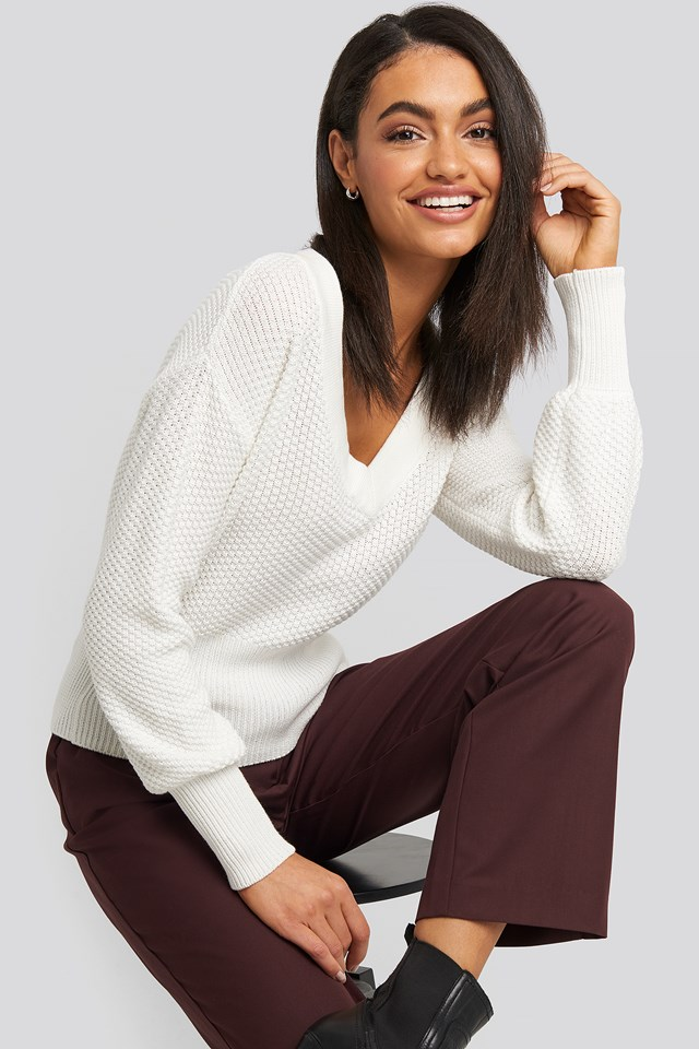 Short Knitted Wide Rib Sweater White