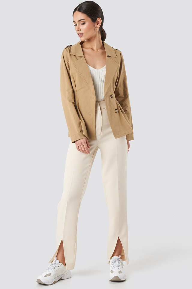 Short Marked Waist Trench Coat Beige