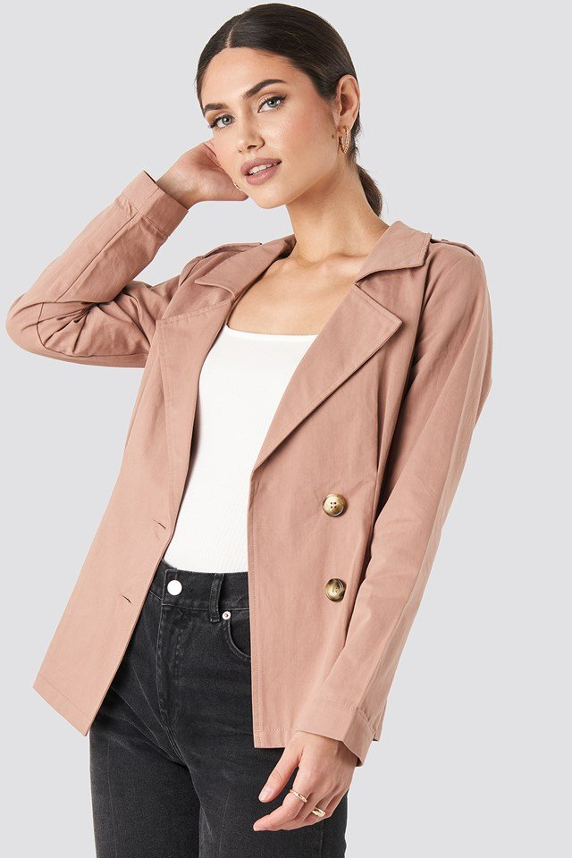 Short Marked Waist Trench Coat Dusty Pink