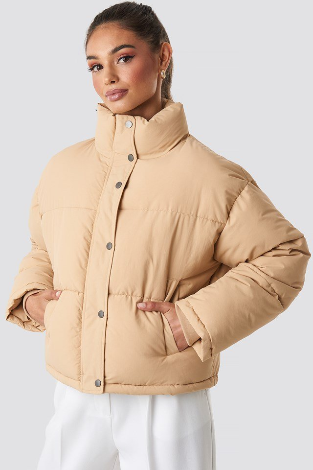 Short Padded Jacket Beige