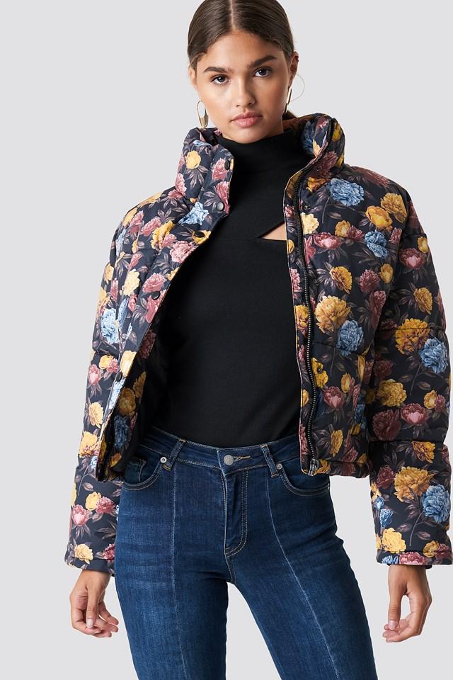 Krótka kurtka watowana Autumn Flowers