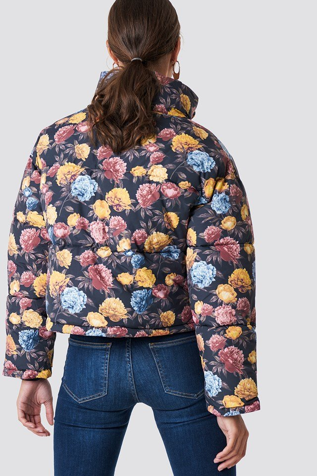 Short Padded Jacket Autumn Flowers