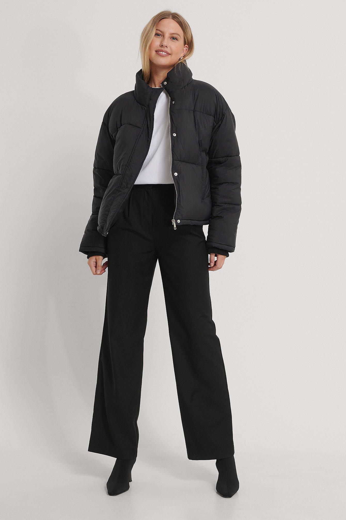na-kd -  Kurze Gefütterte Jacke Mit Reißverschluss - Black