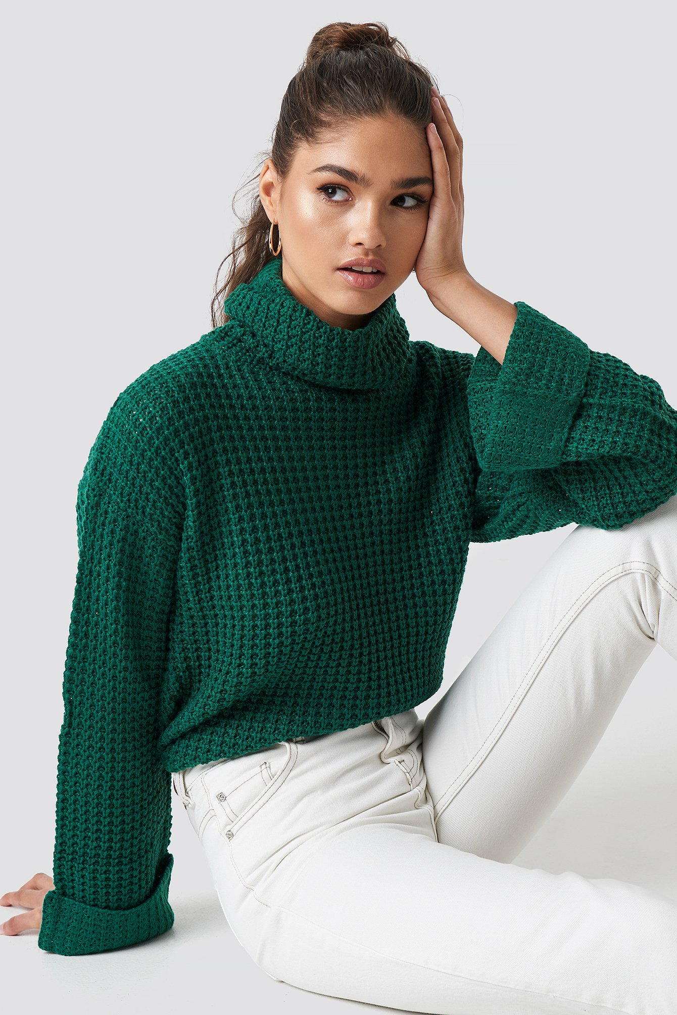 na-kd -  Short Pineapple Knitted Sweater - Green