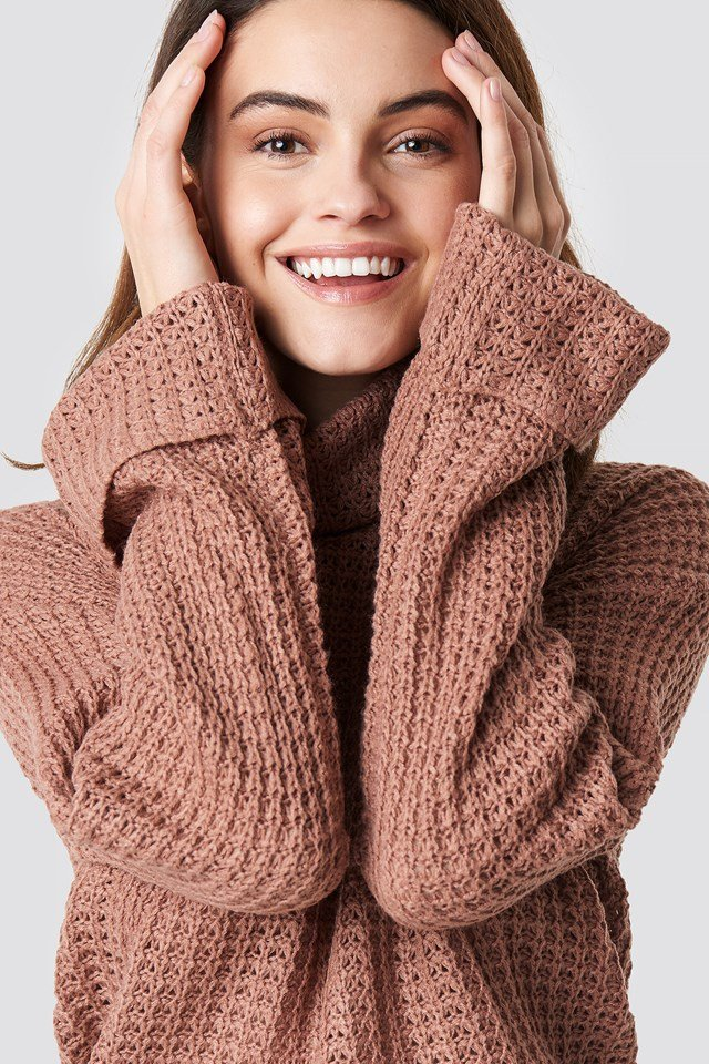Short Pineapple Knitted Sweater Dusty Pink