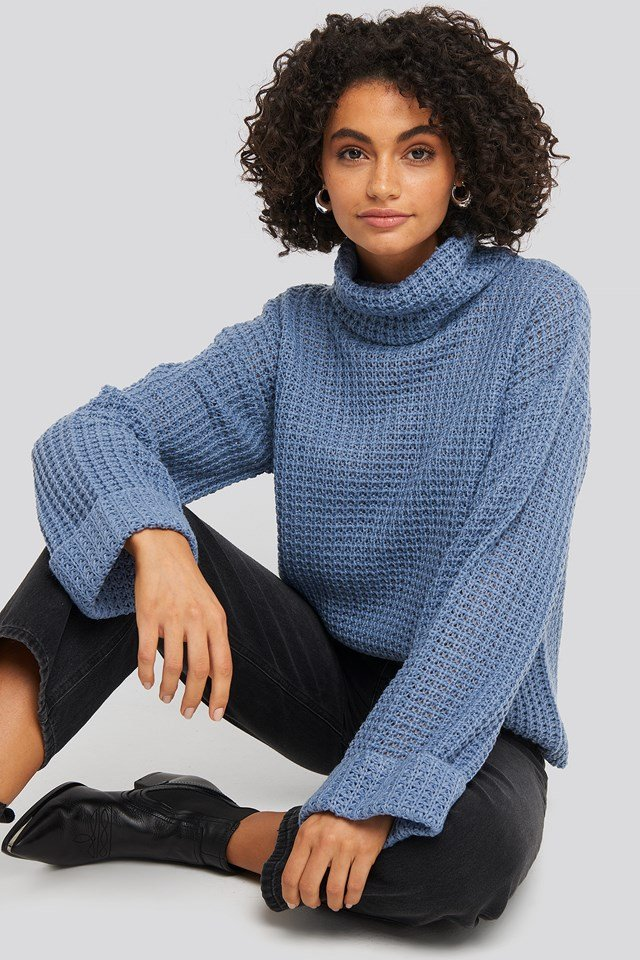 Short Pineapple Knitted Sweater Stone Blue