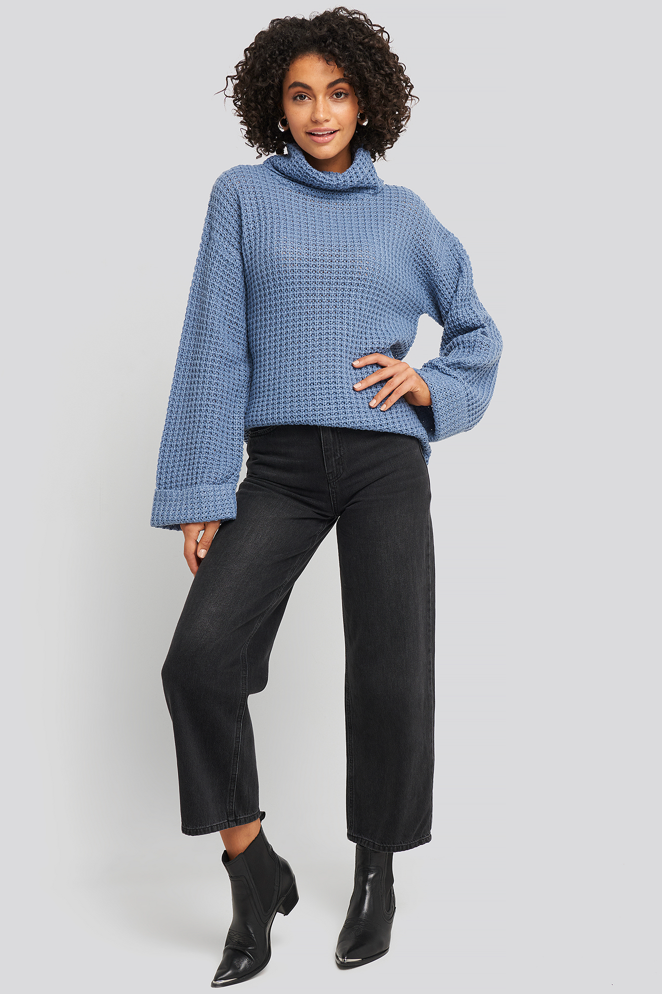 Stone Blue Short Pineapple Knitted Sweater