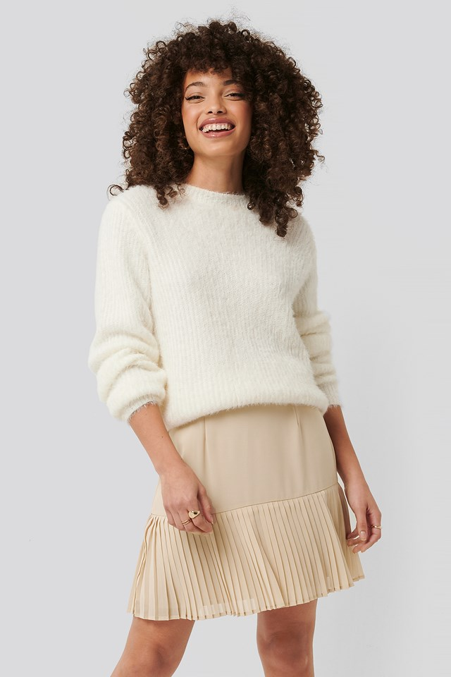 Pleated Bottom Skirt Beige