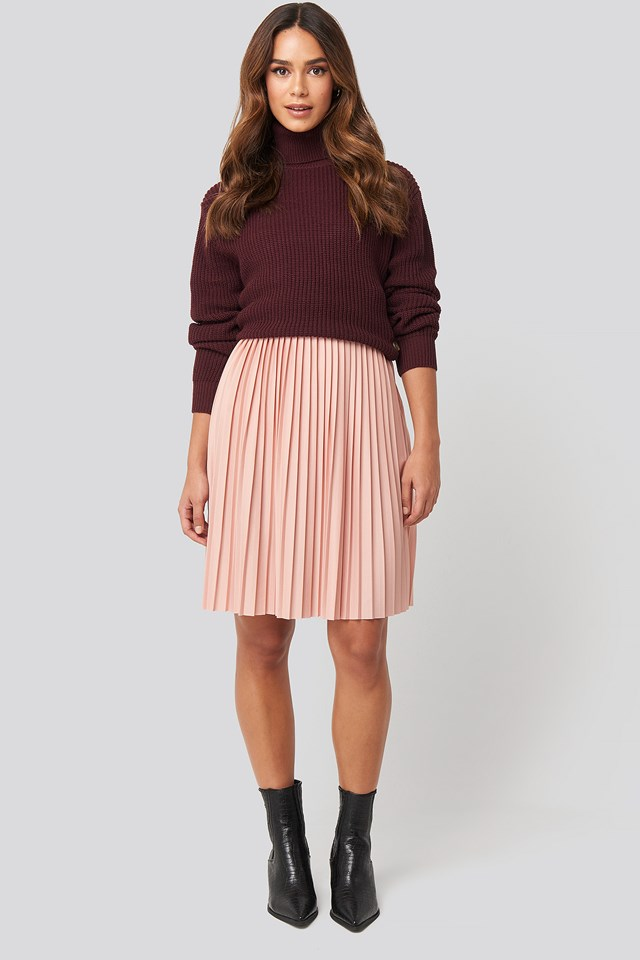 Short Pleated Skirt Dusty Pink