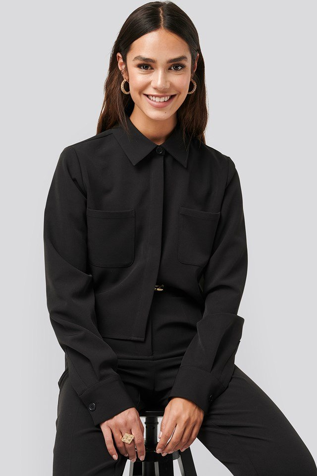Short Pocket Shirt Black