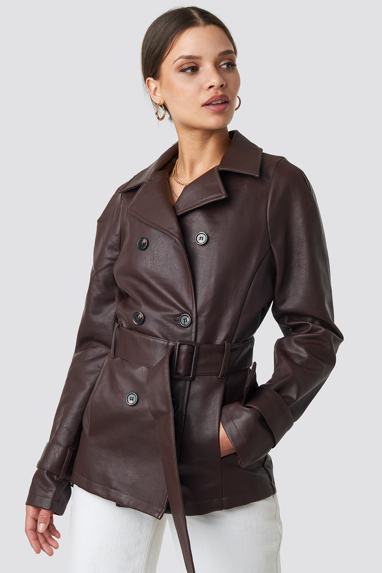 na-kd trend -  Short PU Belted Jacket - Brown