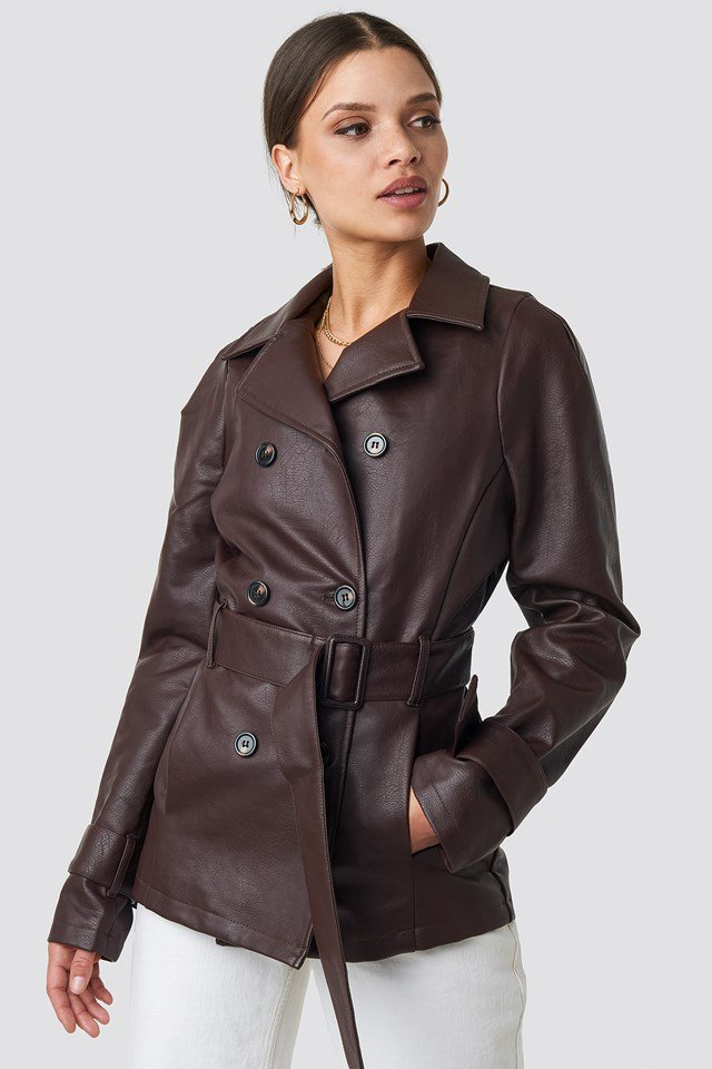 Short PU Belted Jacket Dark Brown