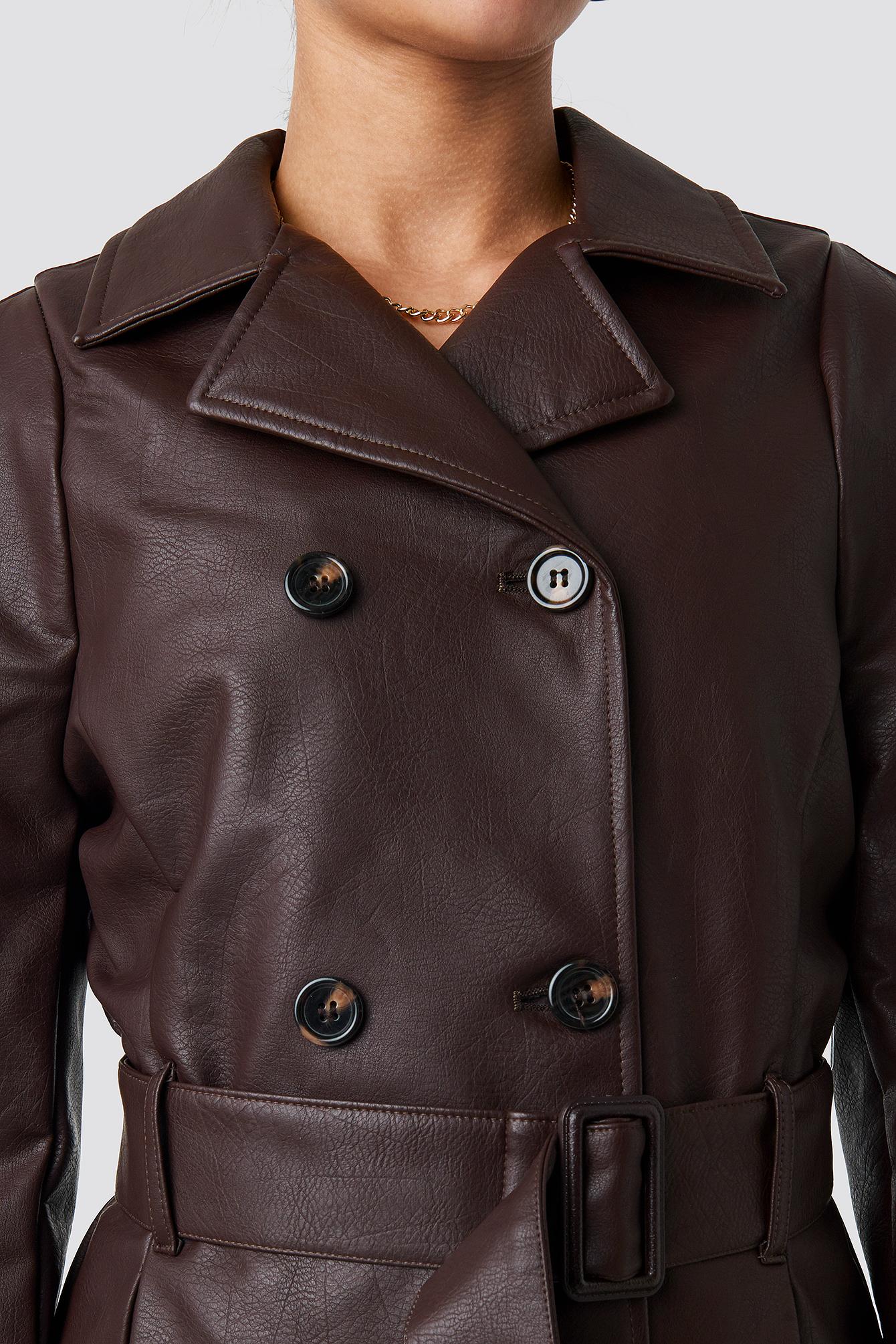 Short PU Belted Jacket NA-KD.COM