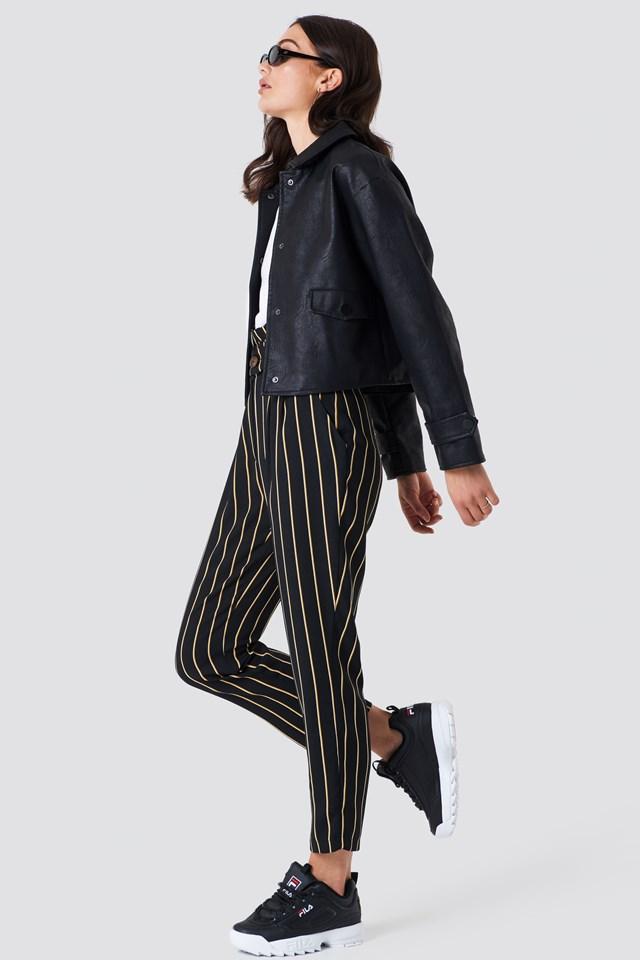Short PU Jacket Black