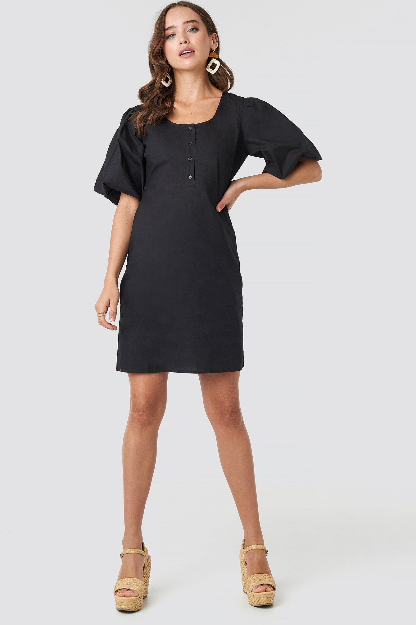 Short Puff Sleeve Button Up Dress NA-KD.COM