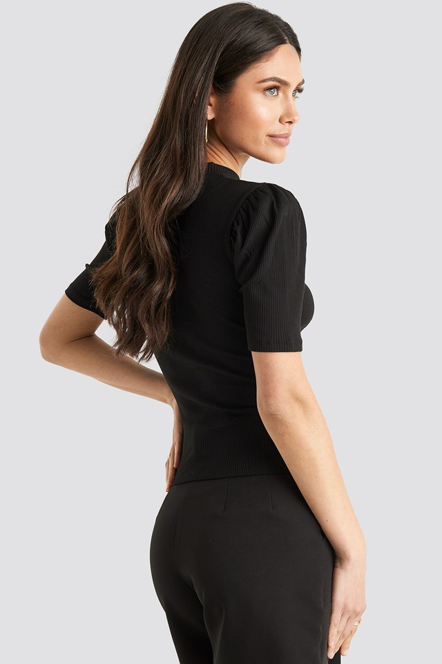 Short Puff Sleeve High Neck Ribbed Top Black