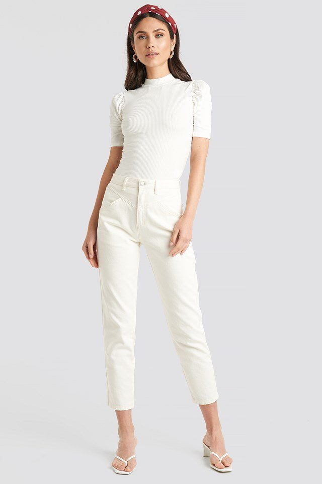 Short Puff Sleeve High Neck Ribbed Top Offwhite