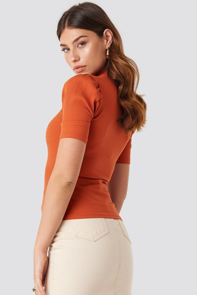 Short Puff Sleeve High Neck Ribbed Top Rust