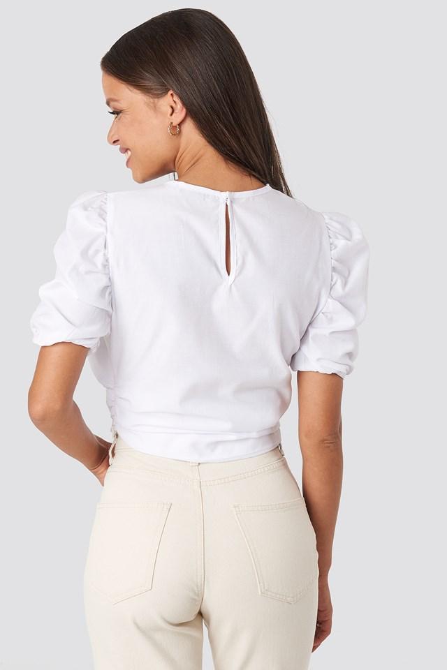 Short Puff Sleeve Keyhole Front Blouse White