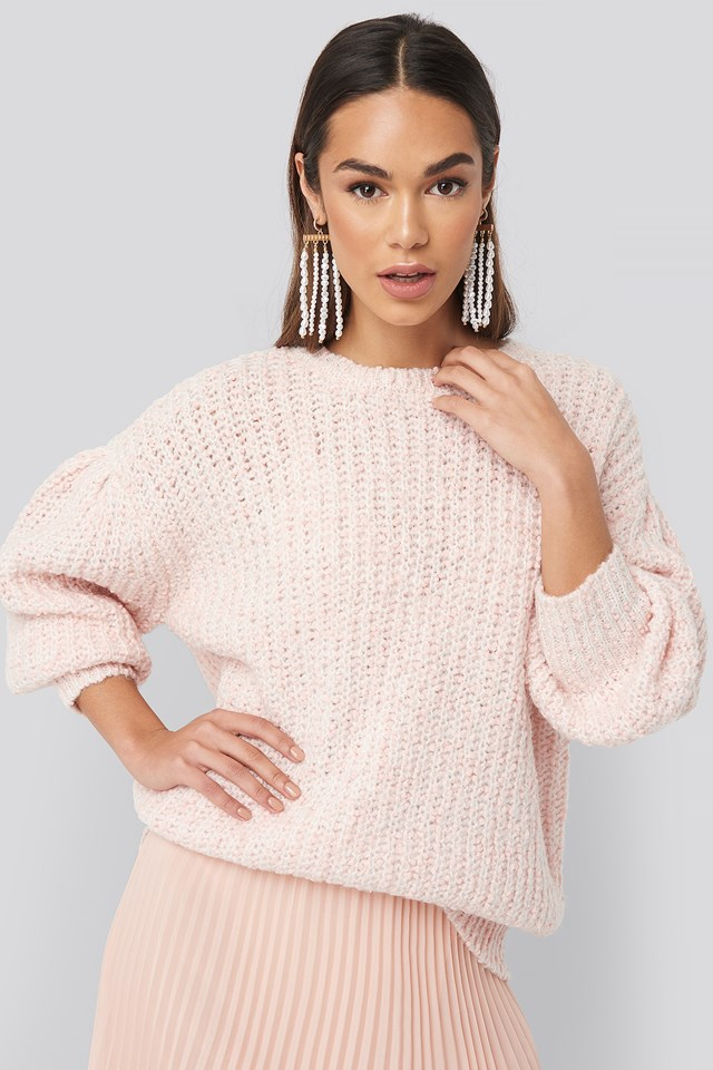 Short Puff Sleeve Melange Sweater Light Pink