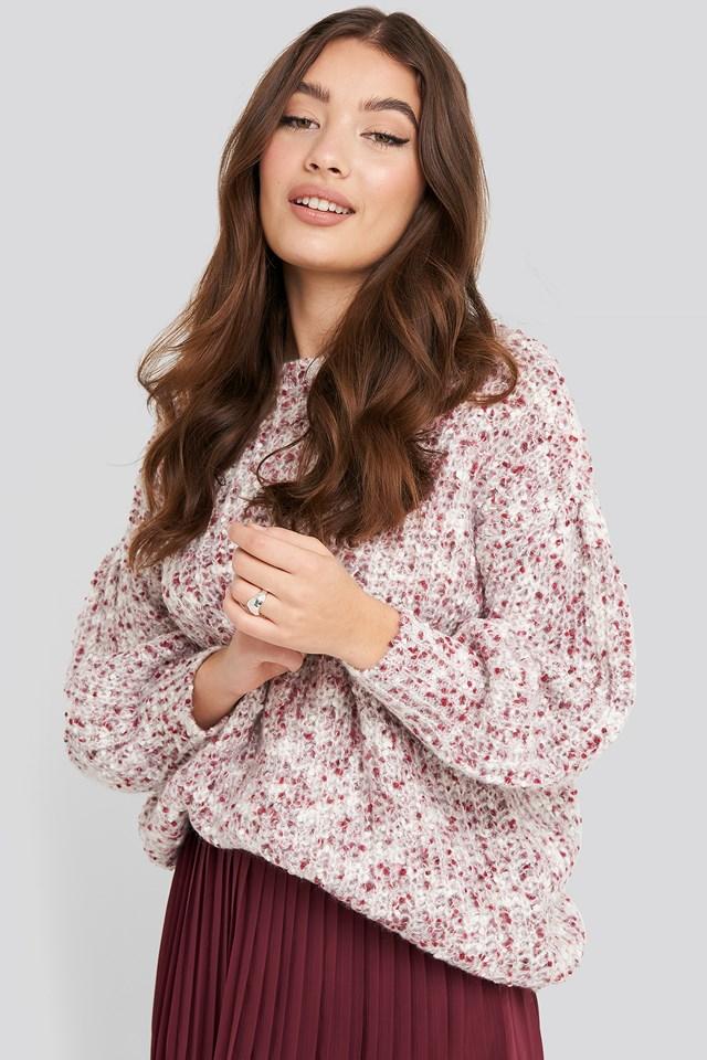 Short Puff Sleeve Melange Sweater Plum