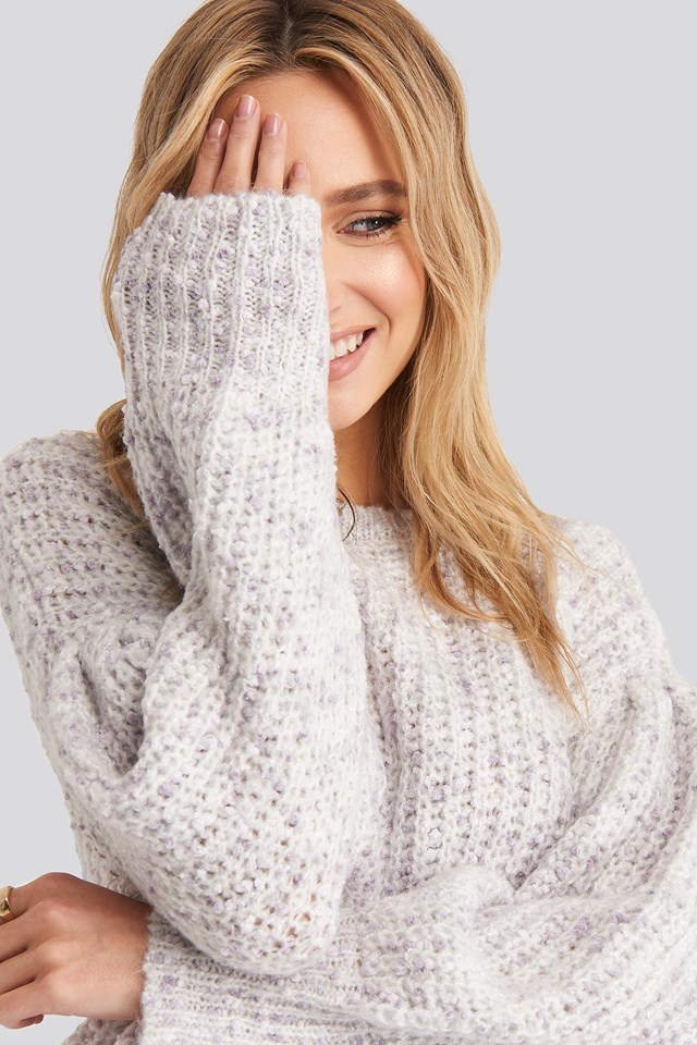 Short Puff Sleeve Melange Sweater Light Purple