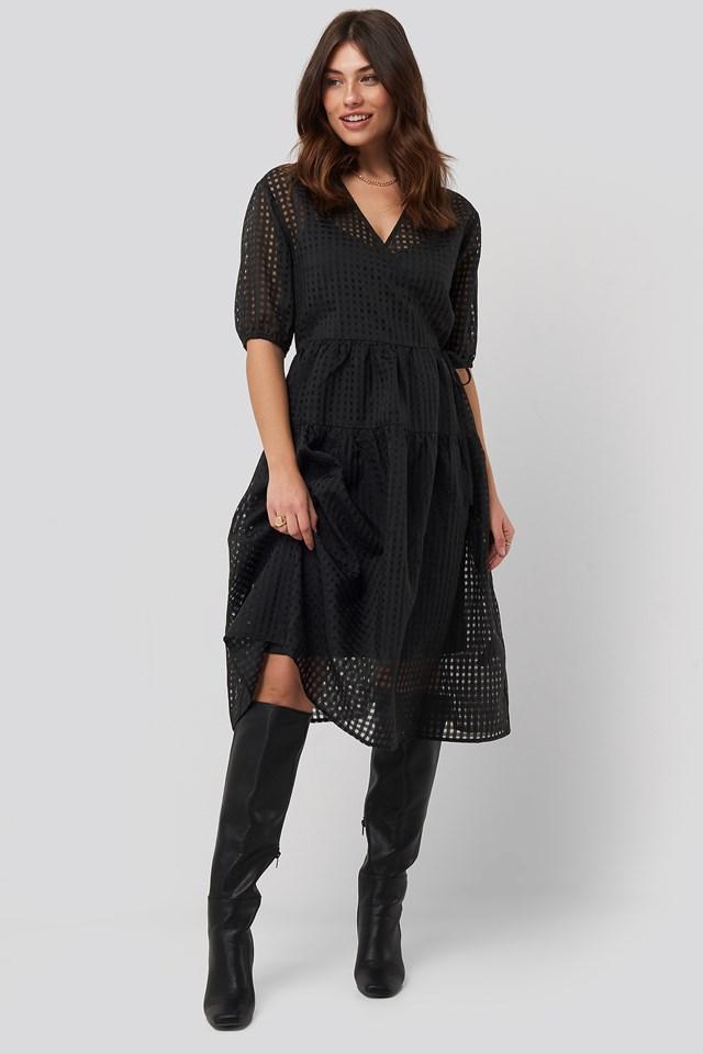 Short Puff Sleeve Wrap Dress Black