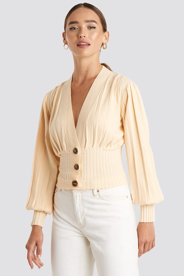 Short Ribbed Cardigan Nude