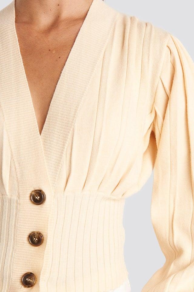 Short Ribbed Cardigan Nude