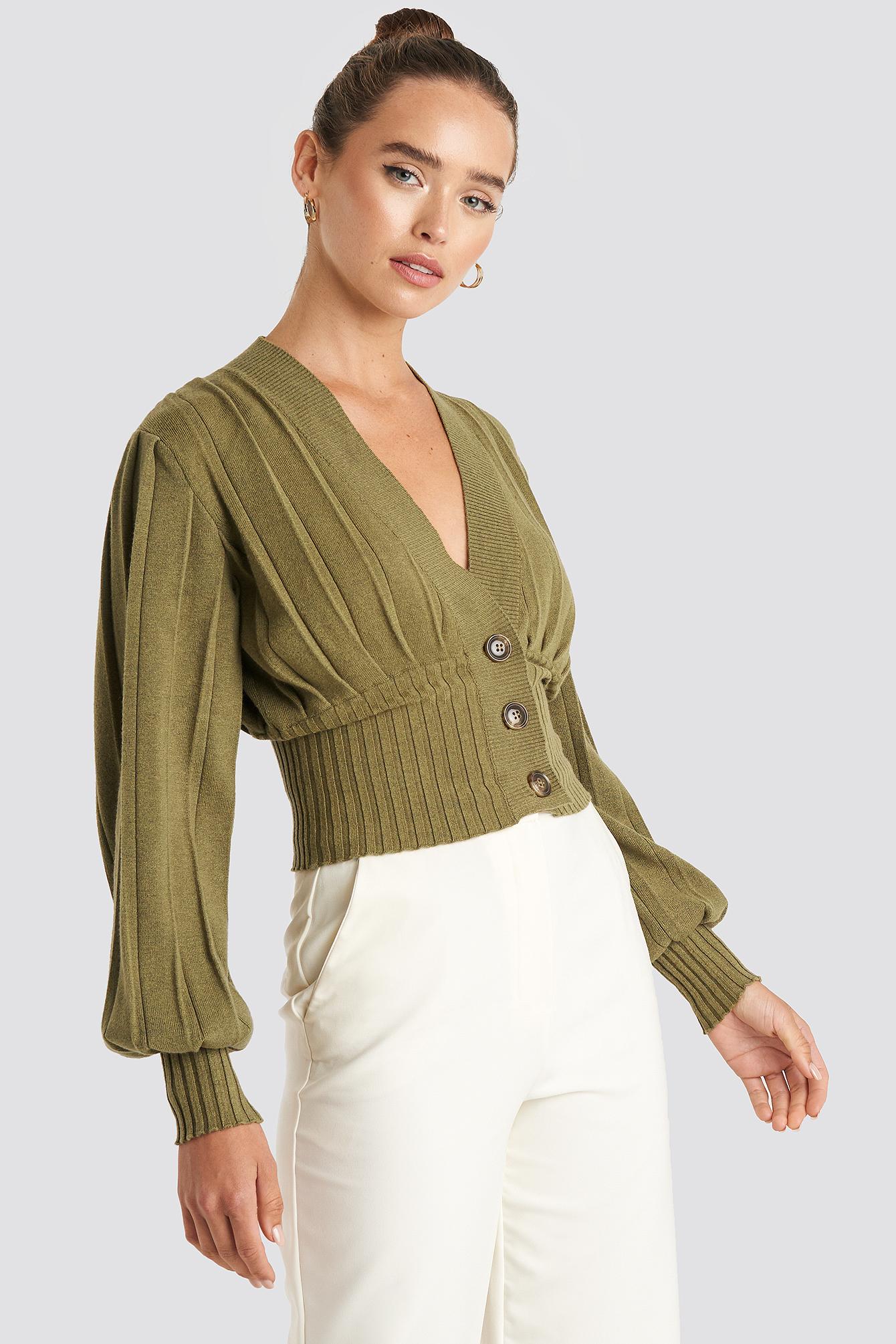 na-kd trend -  Short Ribbed Cardigan - Green