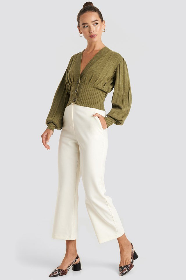 Short Ribbed Cardigan Olive Green