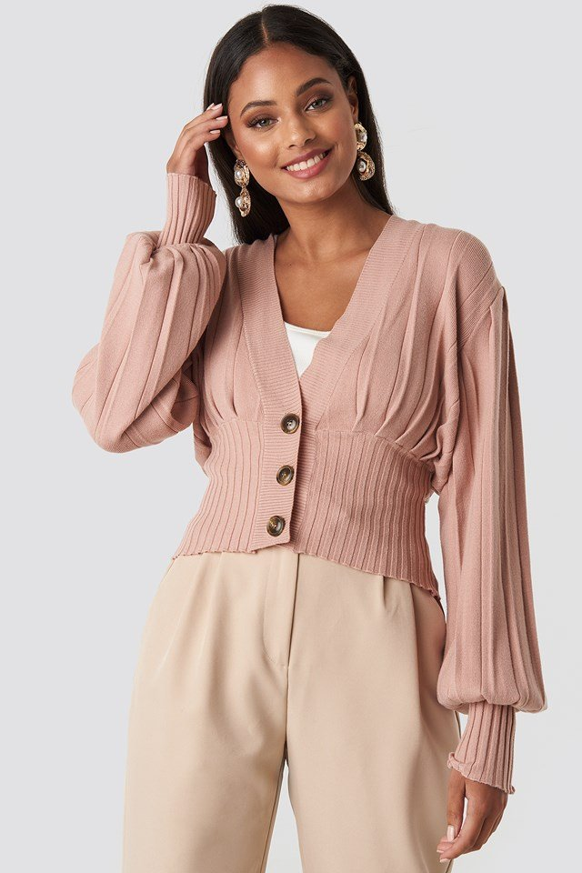 Short Ribbed Cardigan Dusty Pink
