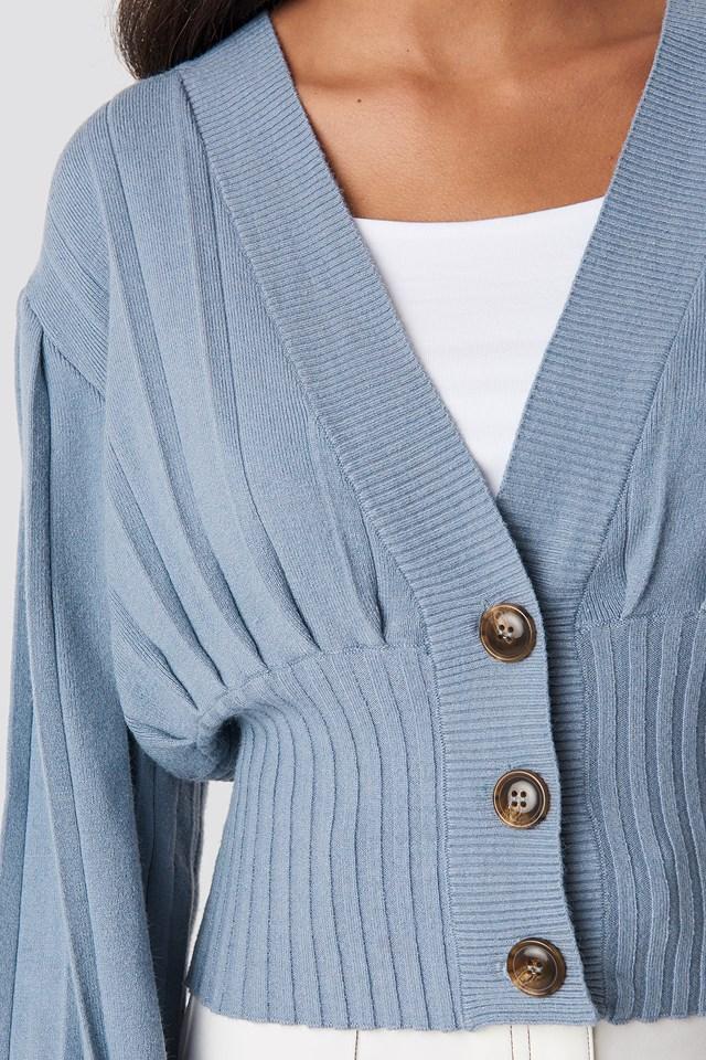 Short Ribbed Cardigan Dusty Blue