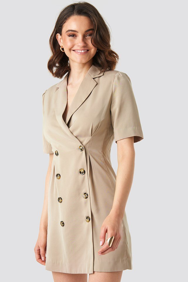 Short Sleeve Blazer Dress Beige