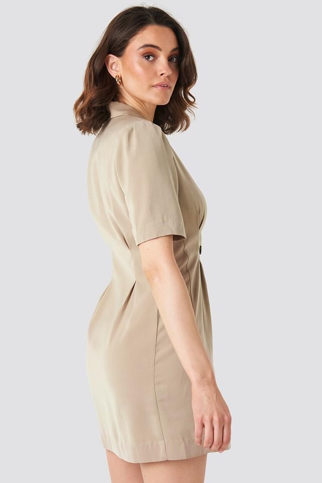 Short Sleeve Blazer Dress Beige