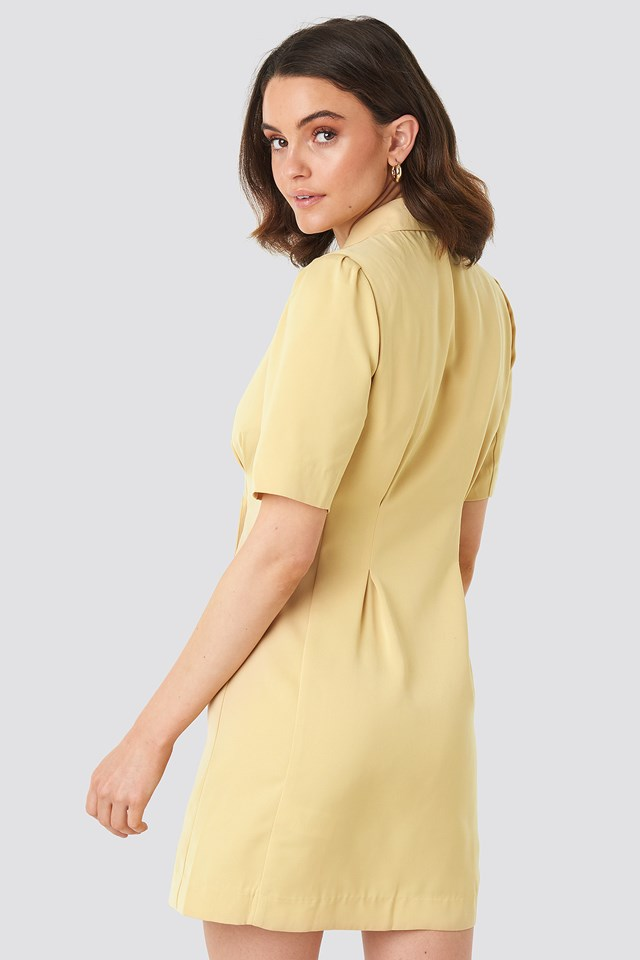 Short Sleeve Blazer Dress Light Yellow