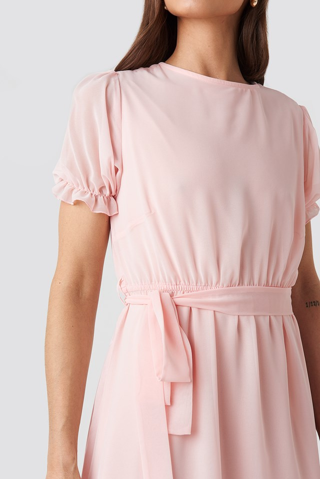 Short Sleeve Chiffon Dress Pink