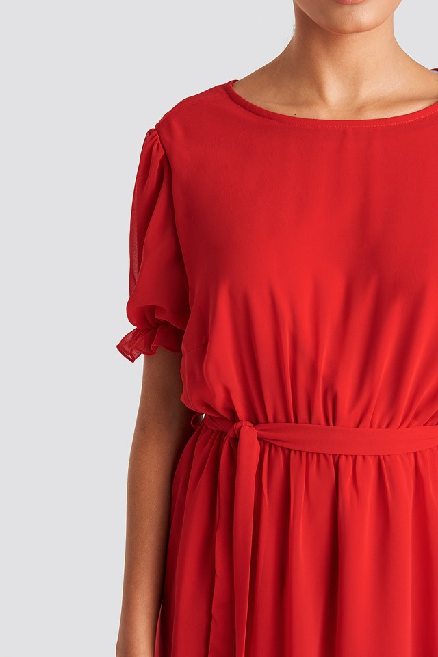 Short Sleeve Chiffon Dress Red