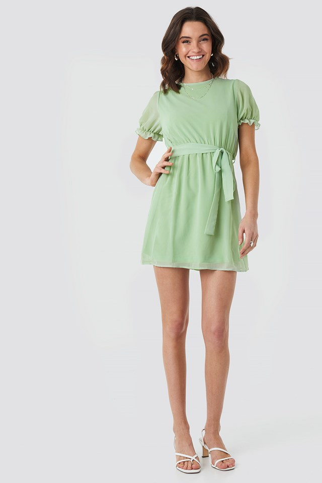 Short Sleeve Chiffon Dress Green