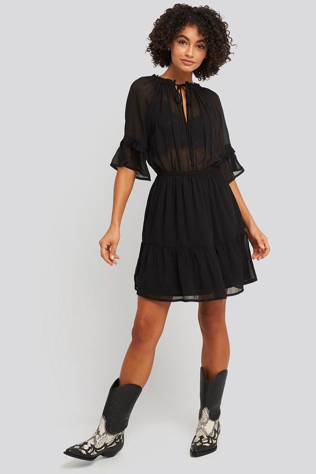 Short Sleeve Flounce Mini Dress Black