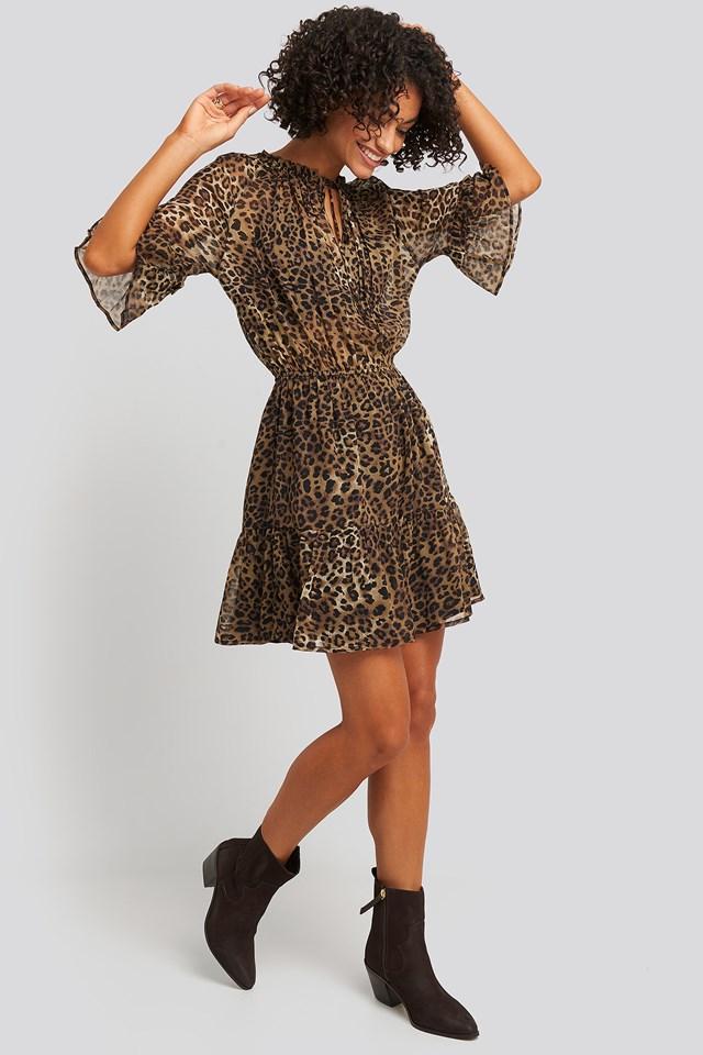 Short Sleeve Flounce Mini Dress Leo