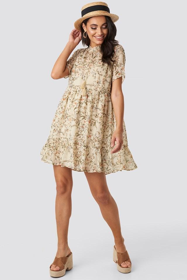 Short Sleeve Flowy Mini Dress Cream Floral