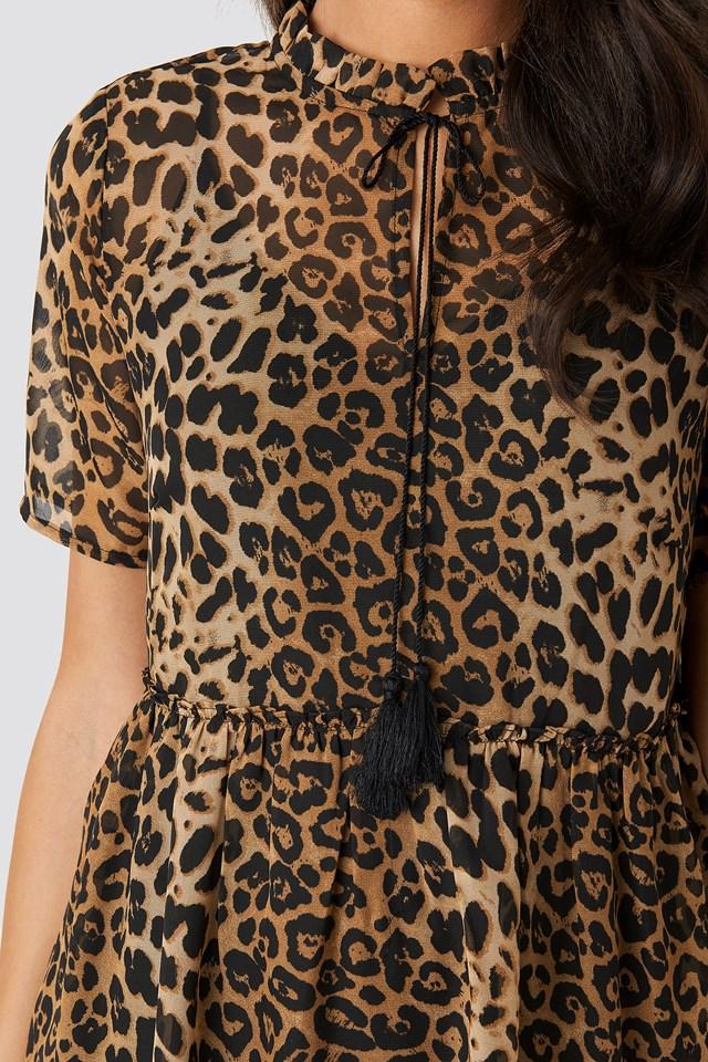 Short Sleeve Flowy Mini Dress Leo